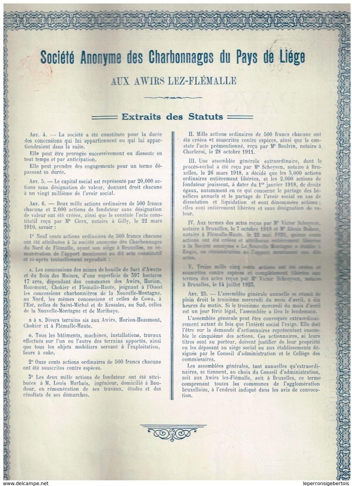 Action Ancienne - Sté Des Charbonnages Du Pays De Liège - Titre De 1923 - Mines