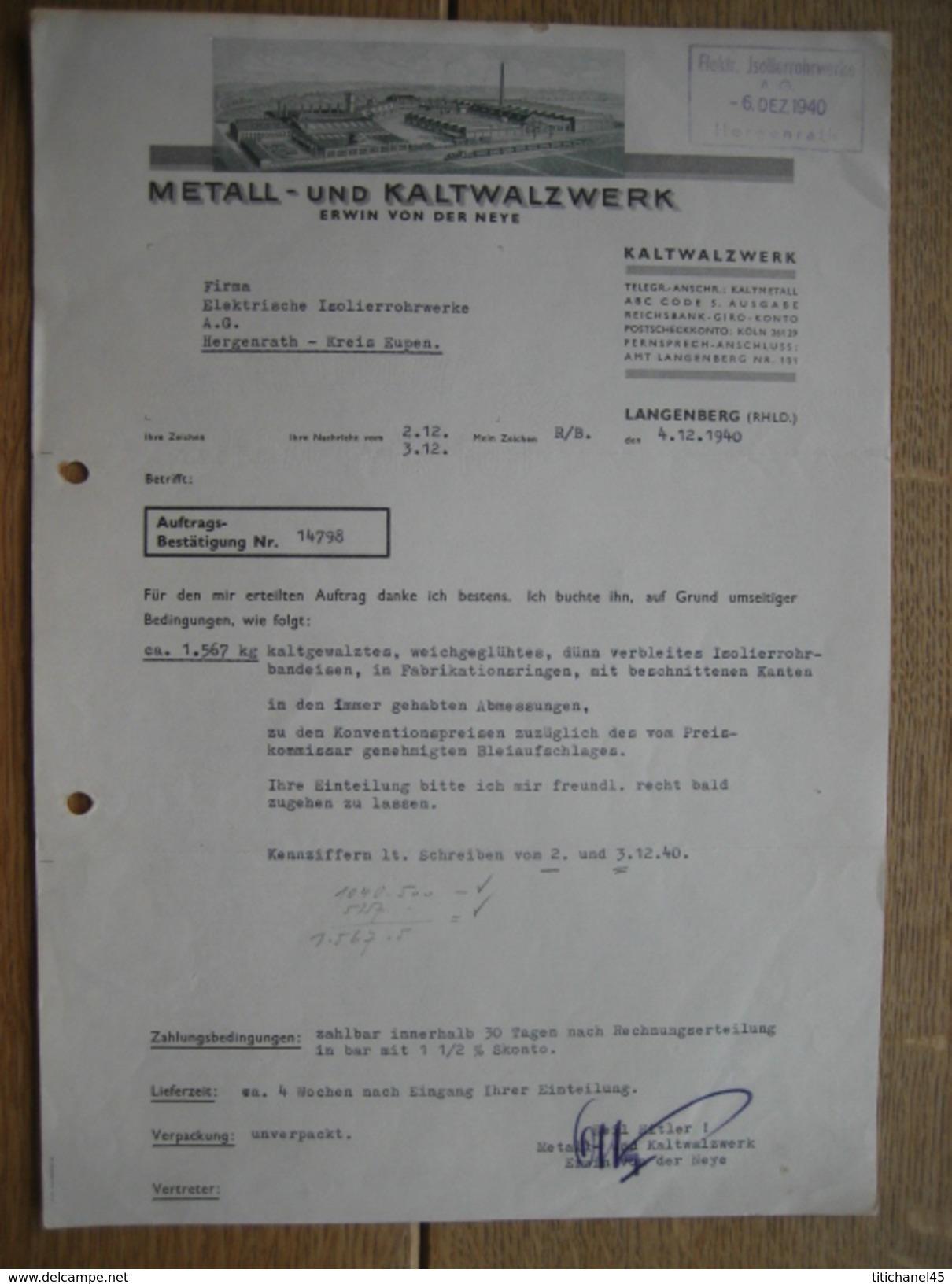 Brief 1940- LANGENBERG - METALL - UND KALTWALZWERK - Autres