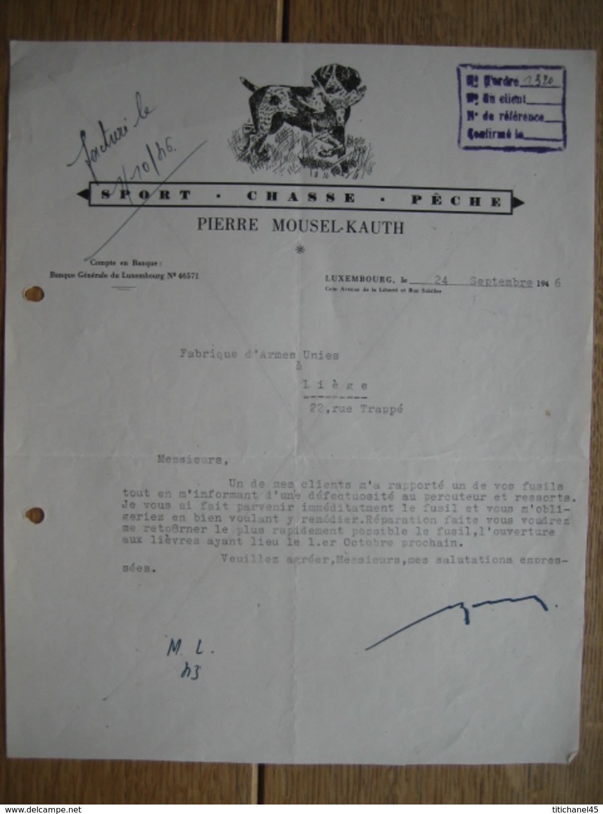 LUXEMBOURG 1946 - PIERRE MOUSEL-KAUTH - Sport - Chasse - Pêche - Luxembourg