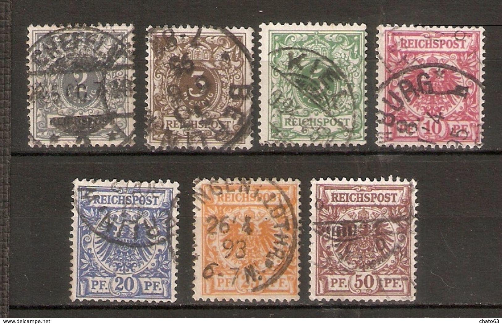 ALEMANIA IMPERIO. 1889-1900. Y&T Nº 44/50 - Usados