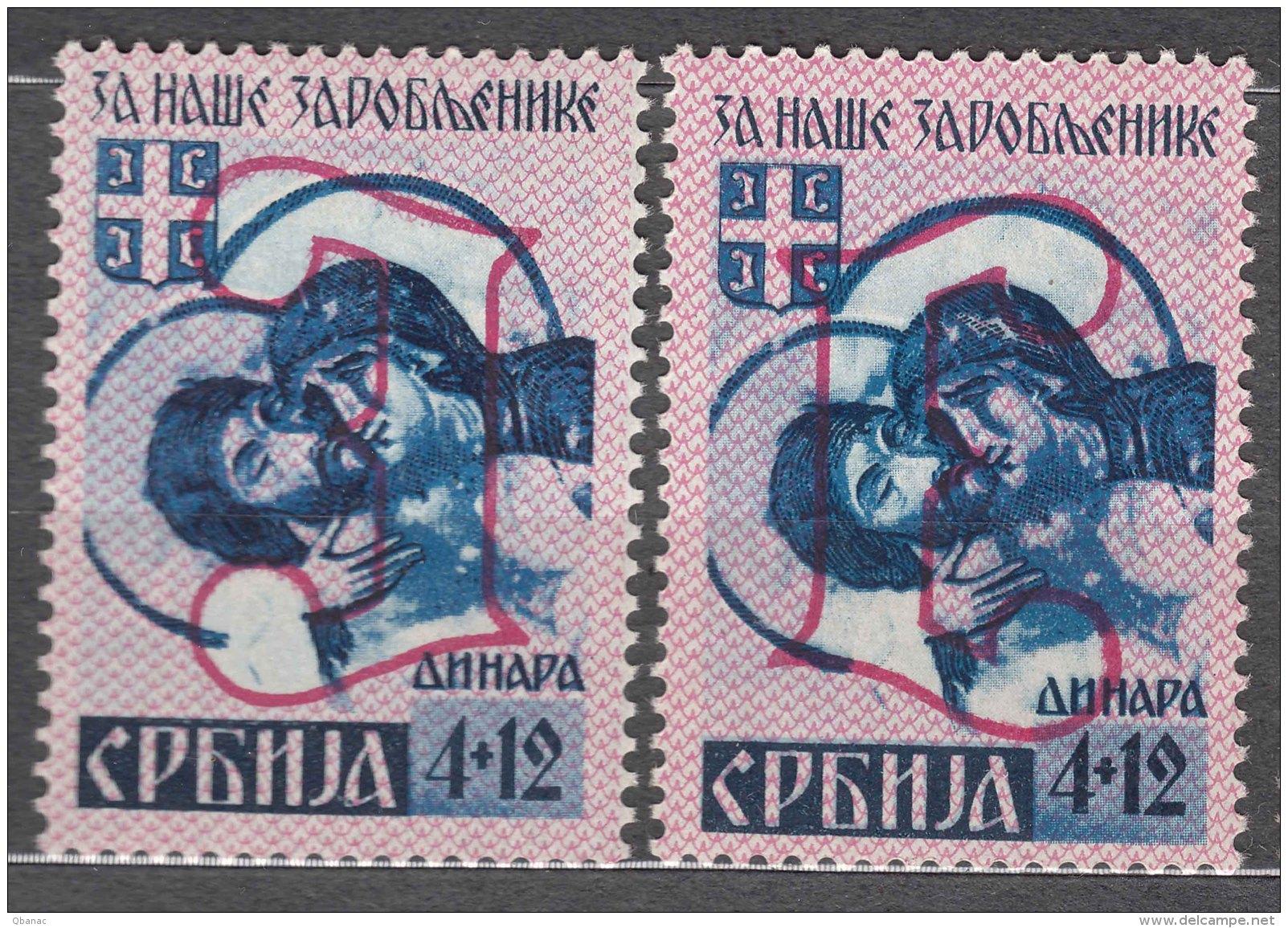 Germany Occupation Of Serbia - Serbien 1941 Mi#57 III And IV, Mint Hinged - Bezetting 1938-45