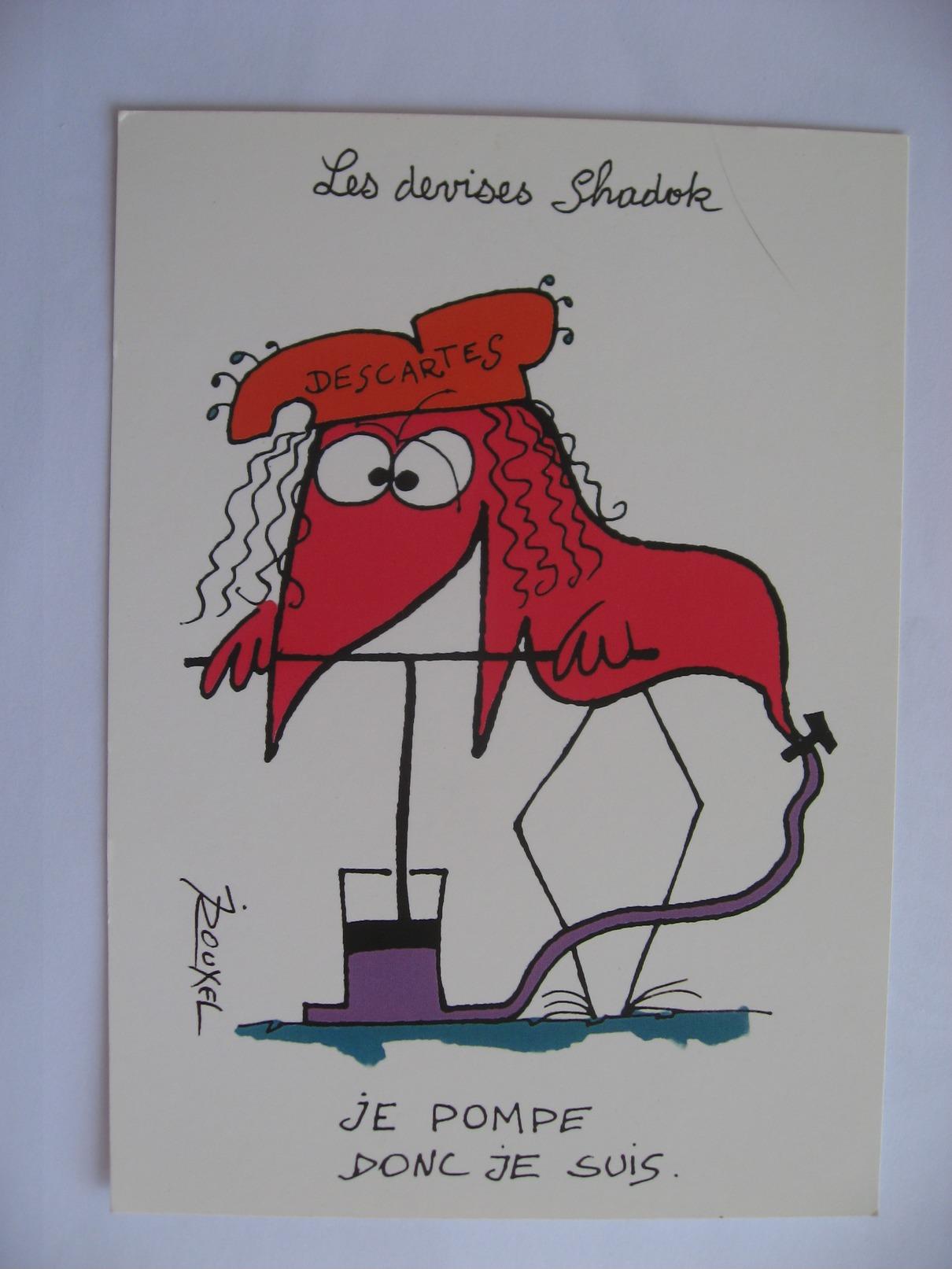 Illustration  Jacques Rouxel Les Devises Shadok  Descartes Je Pompe Donc Je Suis - Illustrateurs & Photographes