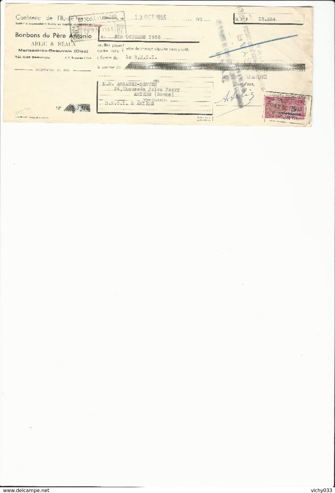 Ref 53/ 60, Marissel Lès Beauvais, Alric Et Réaux, Bonbons Du Père Antonio, 1955, Pour Arrasse-Berten 80 - Banque & Assurance