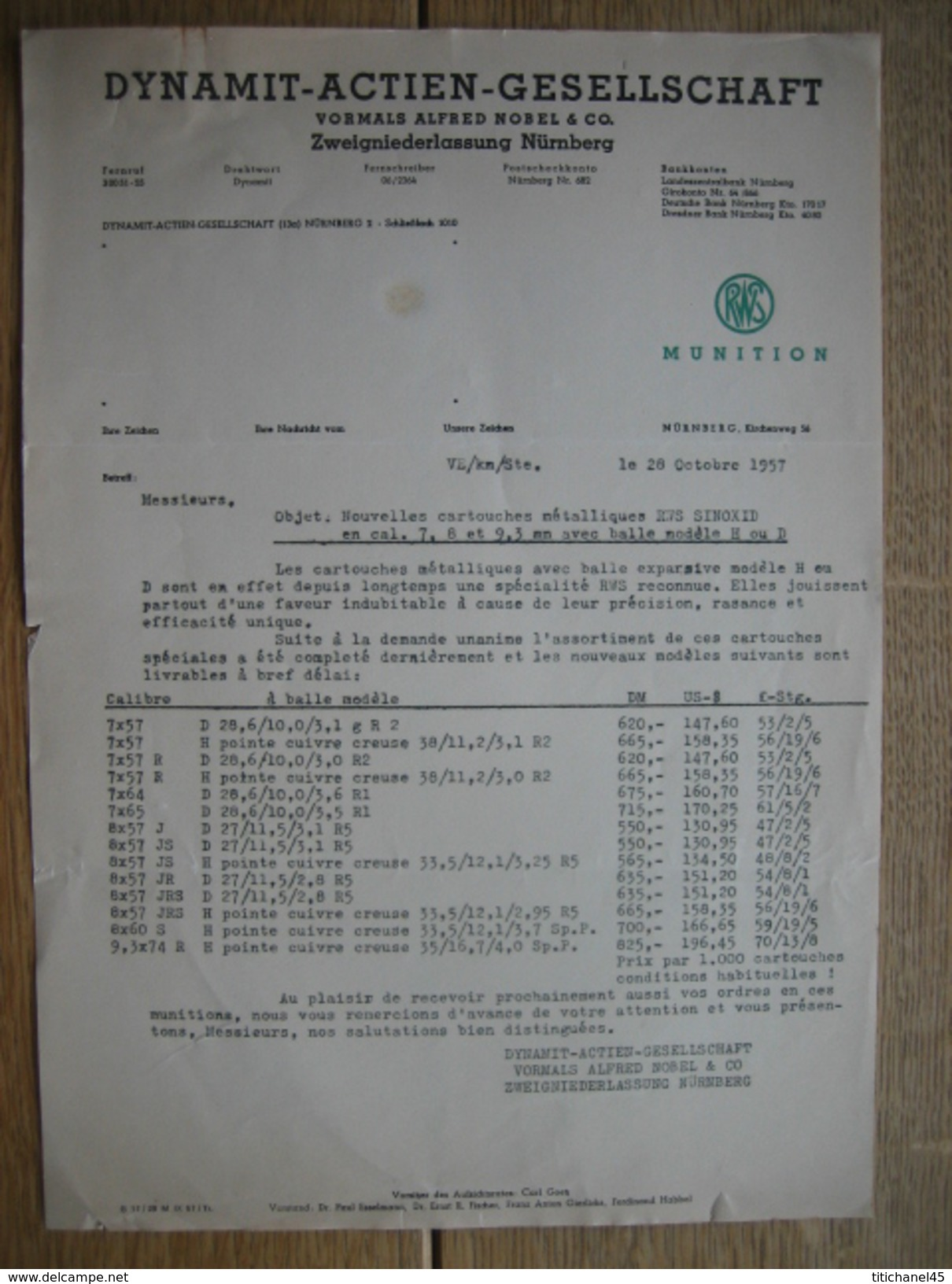 NÜRNBERG 1957 - DYNAMIT-ACTIEN-GESELLSCHAFT Vormals Alfred Nobel & C° - Tarif Cartouches De Chasse à Balle - 6 Pages - Allemagne