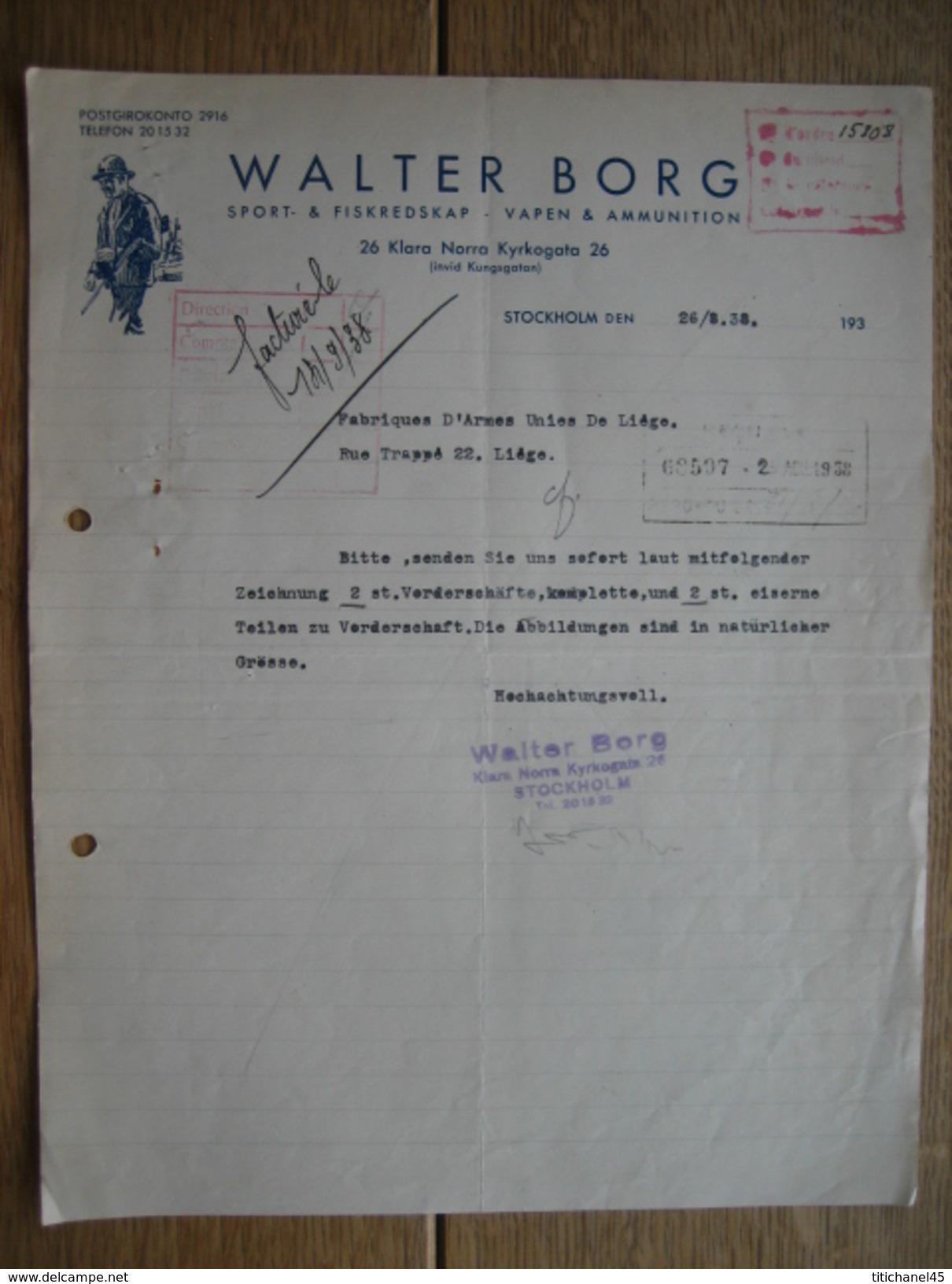 STOCKHOLM 1938 - WALTER BORG - Vapen & Ammunition, Sport & Fiskredskap - Factures & Documents Commerciaux