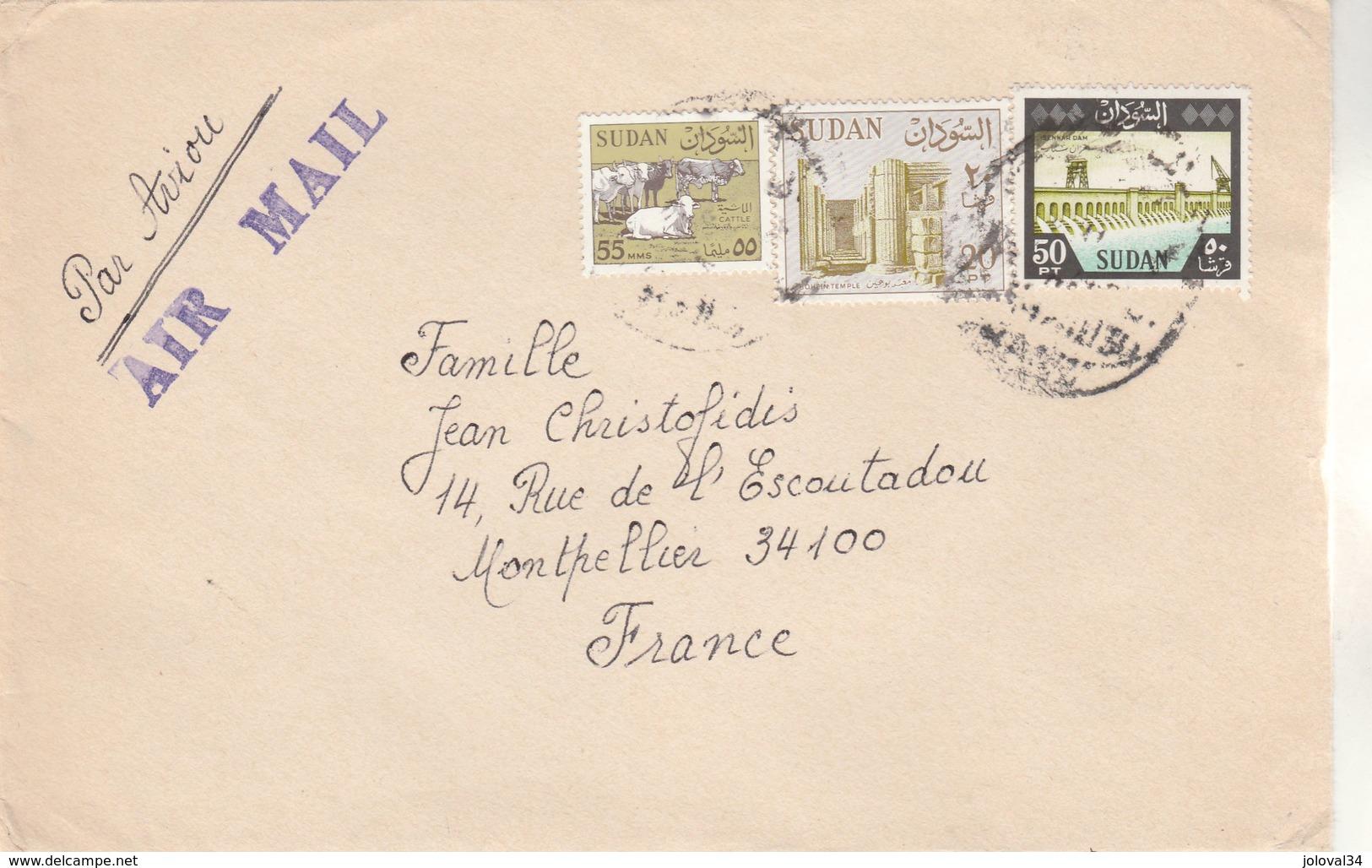SOUDAN SUDAN - Lettre Avion  Khartoum Pour Montpellier France  - Lettre N° 7 - Soudan (1954-...)