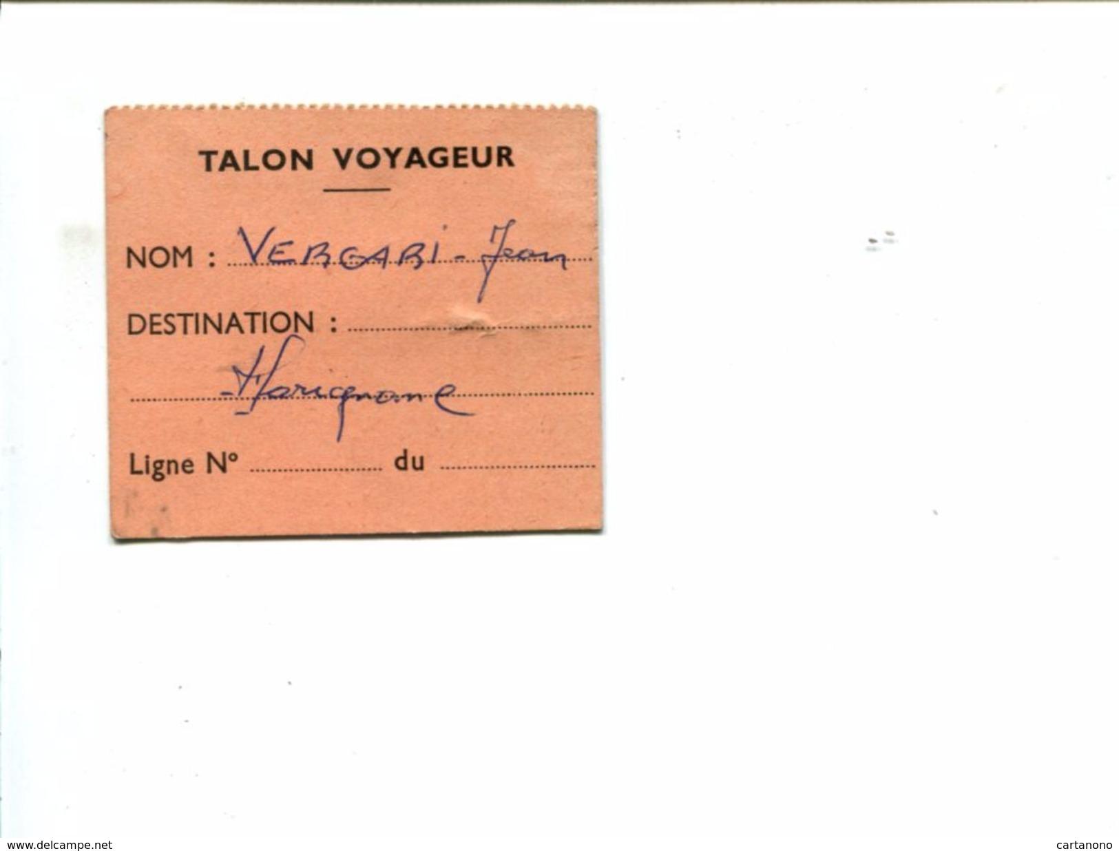 Cp - MARIGNANE - Talon Voyageur Pour Transport - Titres De Transport
