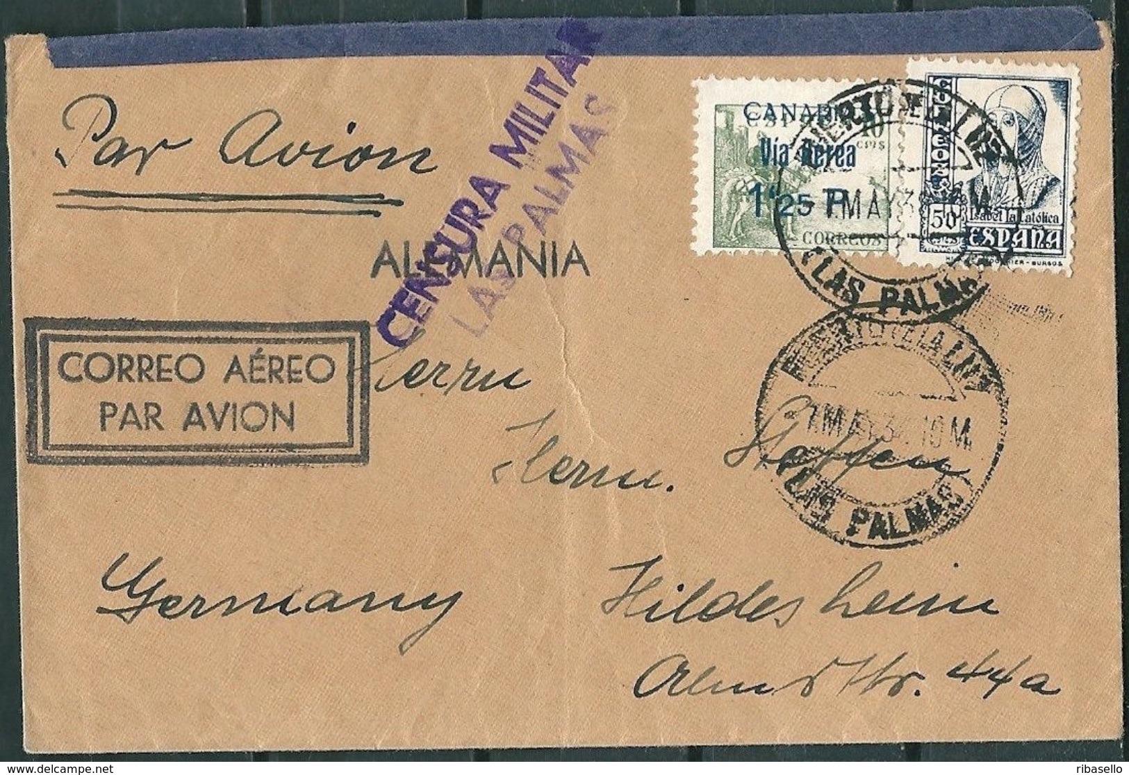 España 1938. Canarias. Carta De Las Palmas A Hildesheim. Censura. - Marcas De Censura Nacional