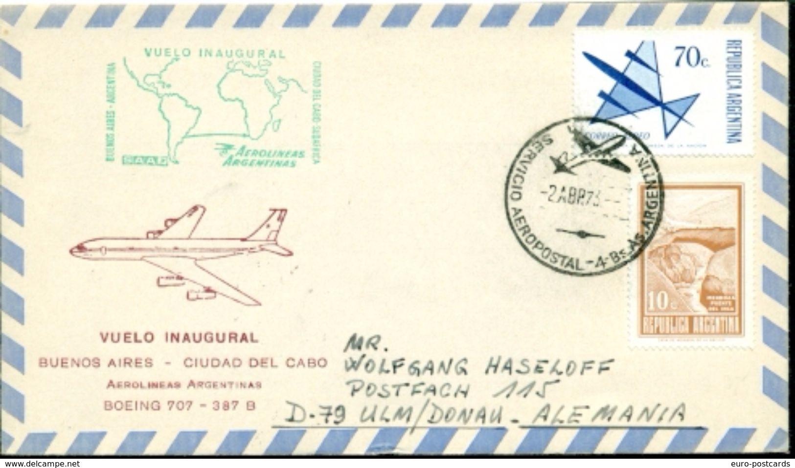 Erste Flüge-Primi Voli-First Flights--marcofilia-primeros Vuelos- BUENOS AIRES-CIUDAD DEL CABO-AEROLINAS ARGENTINAS - Argentina