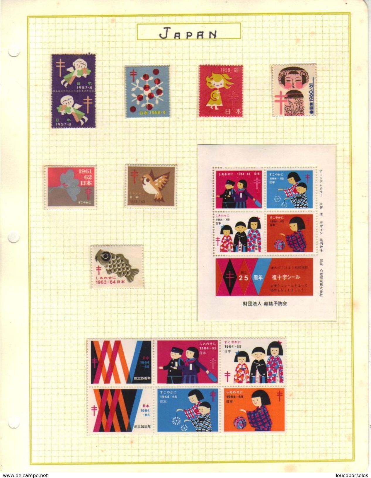 12706 Japão Grande Coleção De Selos, Cadernetas, Blocos De Tuberculose Linda E Rara Em 12 Paginas. - Japon