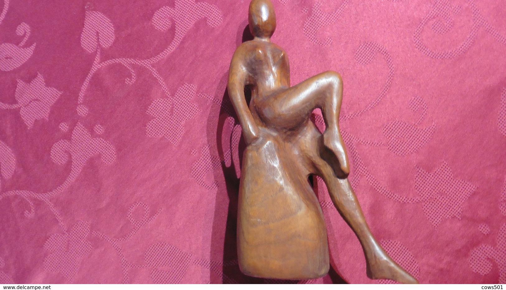 Statue Bois :Statue :Portrait De Femme Africaine - Art Africain