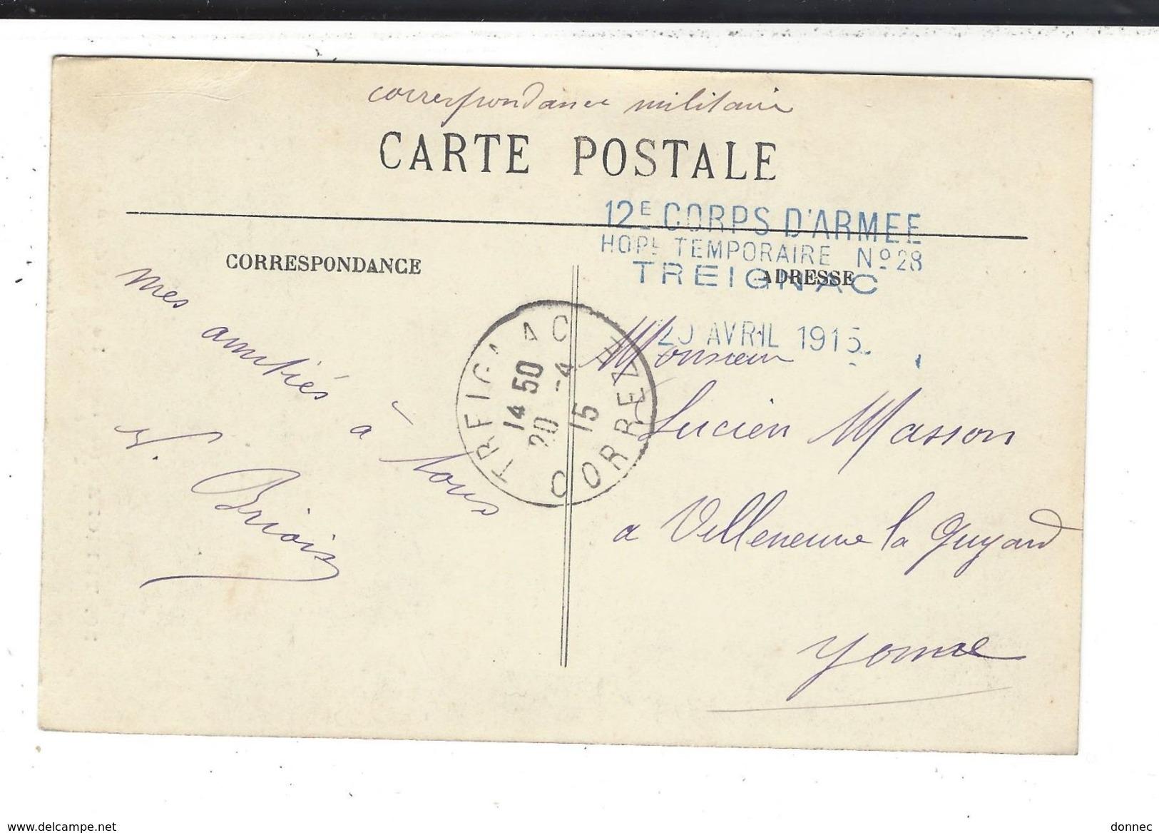TREIGNAC Cachet 12è Corps D'Armée Hôpital Temporaire  N° 28 - Storia Postale
