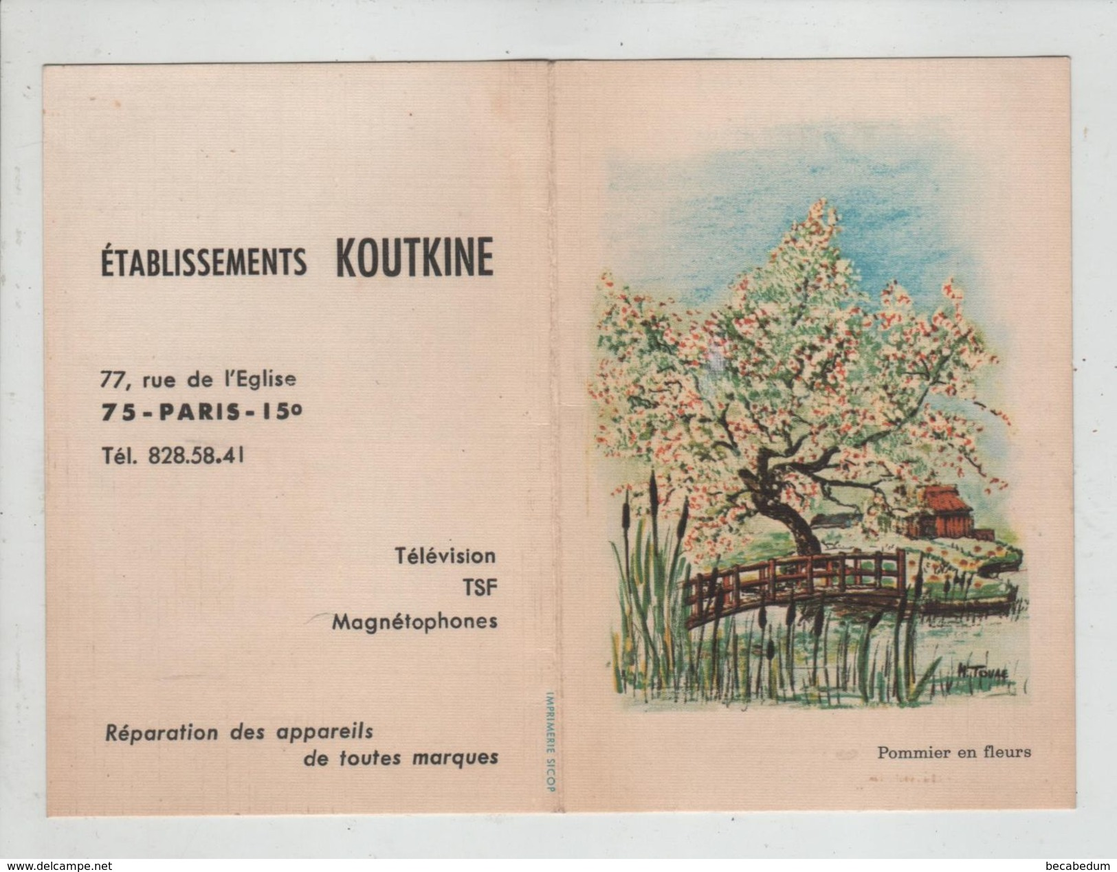 Calendrier 1969 Koutkine Paris Rue De L' Eglise Télévisions Magnétophones TSF  Pommier En Fleurs - Calendriers