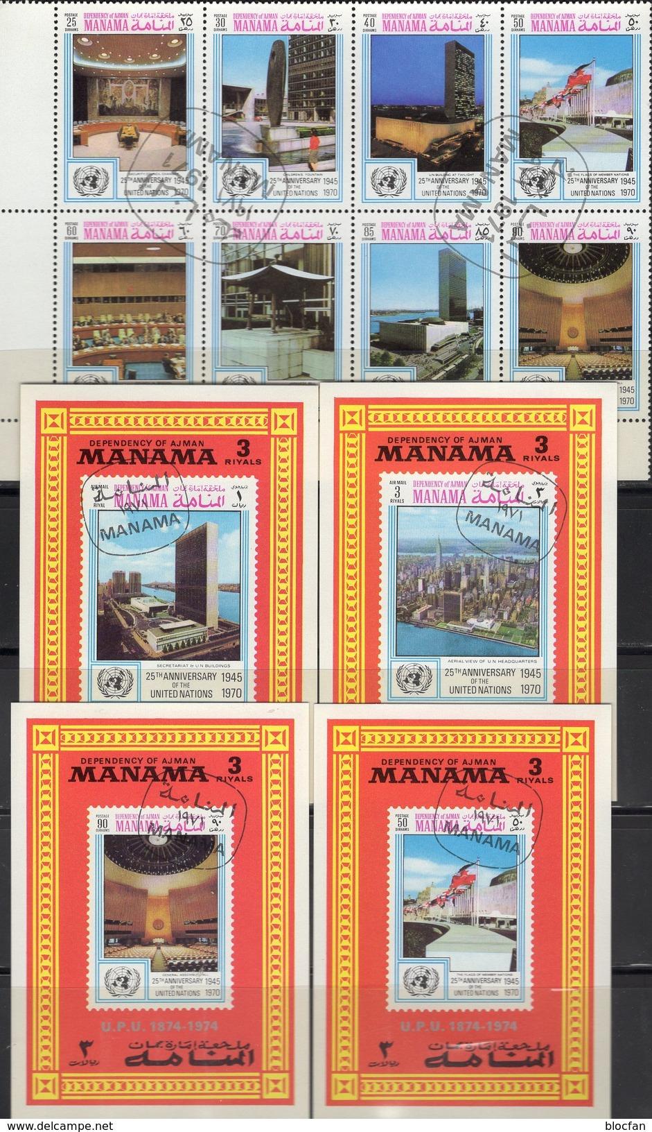 Flaggen UNO 1971 Manama 535-542 KB+Blocks A-D 107 O 24€ 25 Jahre UN NY Hojitas EXPO Blocs Flags Sheets Bf VAE Ajman - Manama