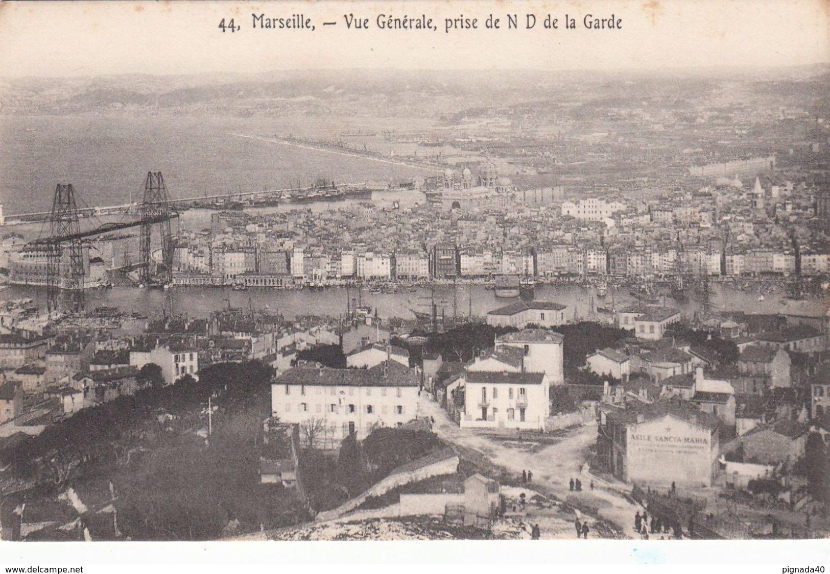 Cp , 13 , MARSEILLE , Vue Générale, Prise De N.-D. De La Garde - Other