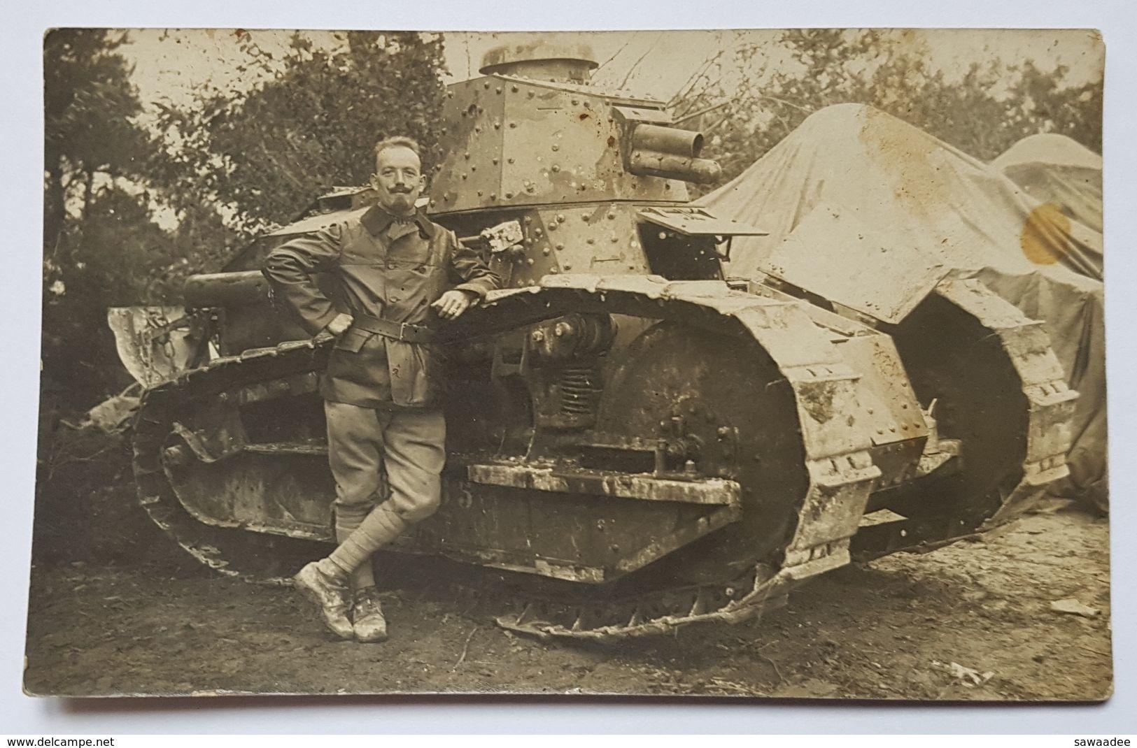 CARTE POSTALE - FRANCE - PHOTO - CHAR RENAULT FT - TEXTE AU DOS EN DATE 16/09/1918 - MECANICIEN - TENUE - Guerre 1914-18