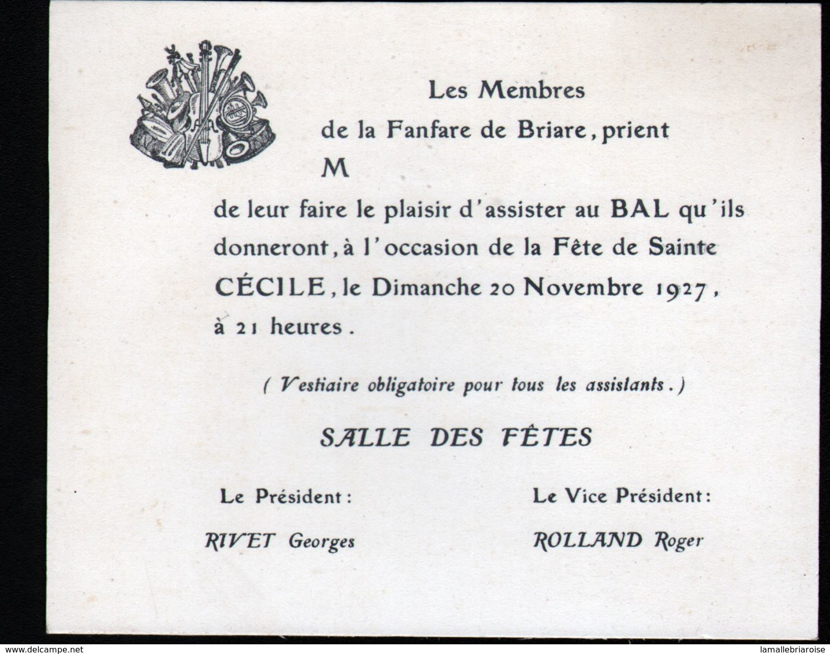45, Briare, Carton D'invitation De La Sainte Cécile 1927 - Musique & Instruments