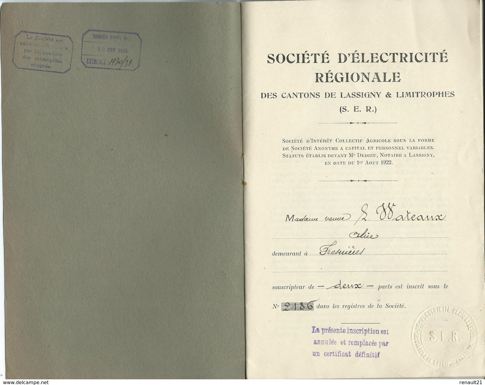 Société D'Électricité Régionale Des Cantons De Lassigny Et Limitrophes (S.E.R)-Madame Veuve Watteaux Odile à Ferrières. - Electricité & Gaz