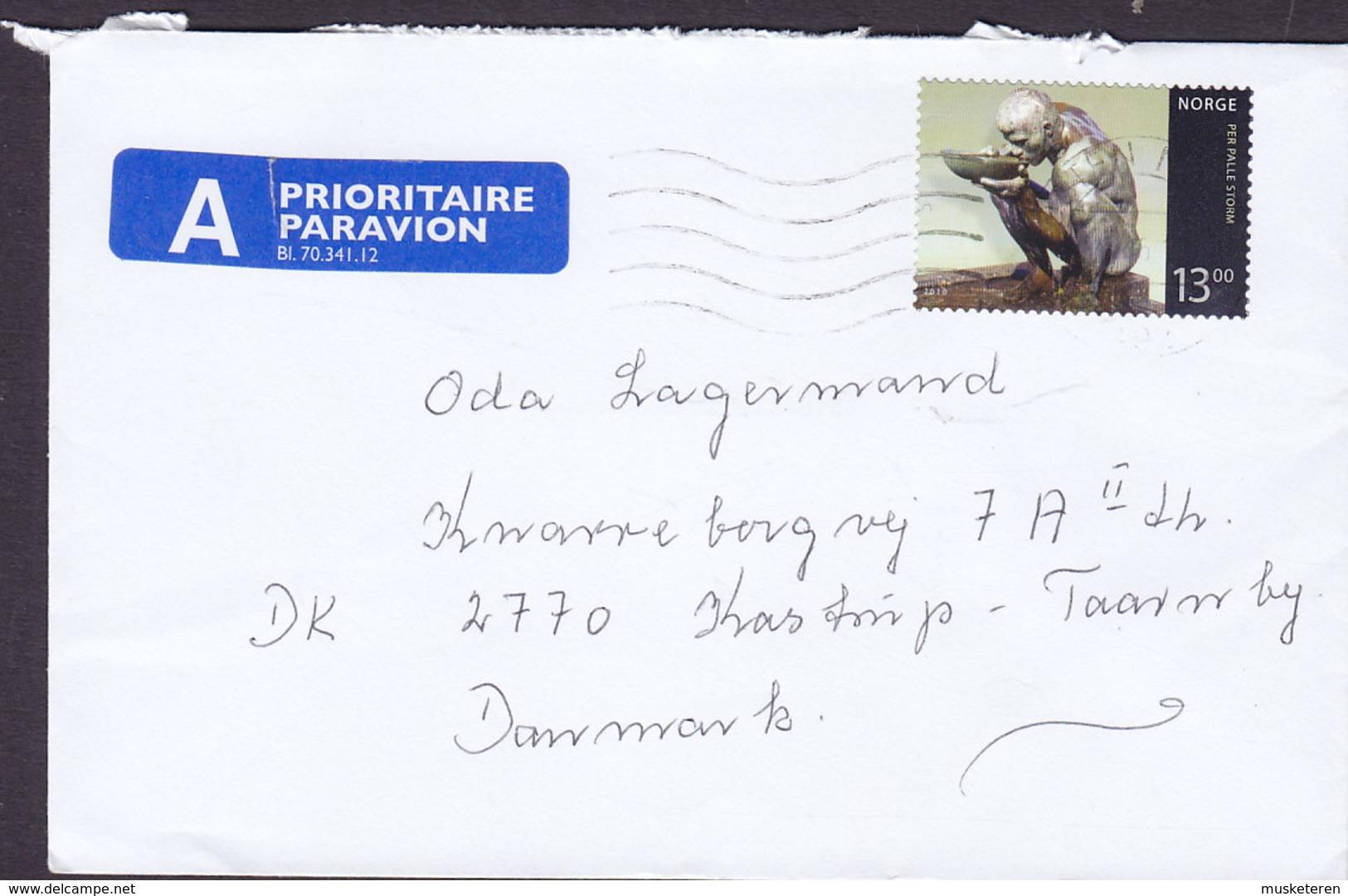 Norway A PRIORITAIRE Par Avion Label 2010 Cover Brief KASTRUP TAARNBY Denmark Per Palle Storm Sculpture Stamp - Norwegen