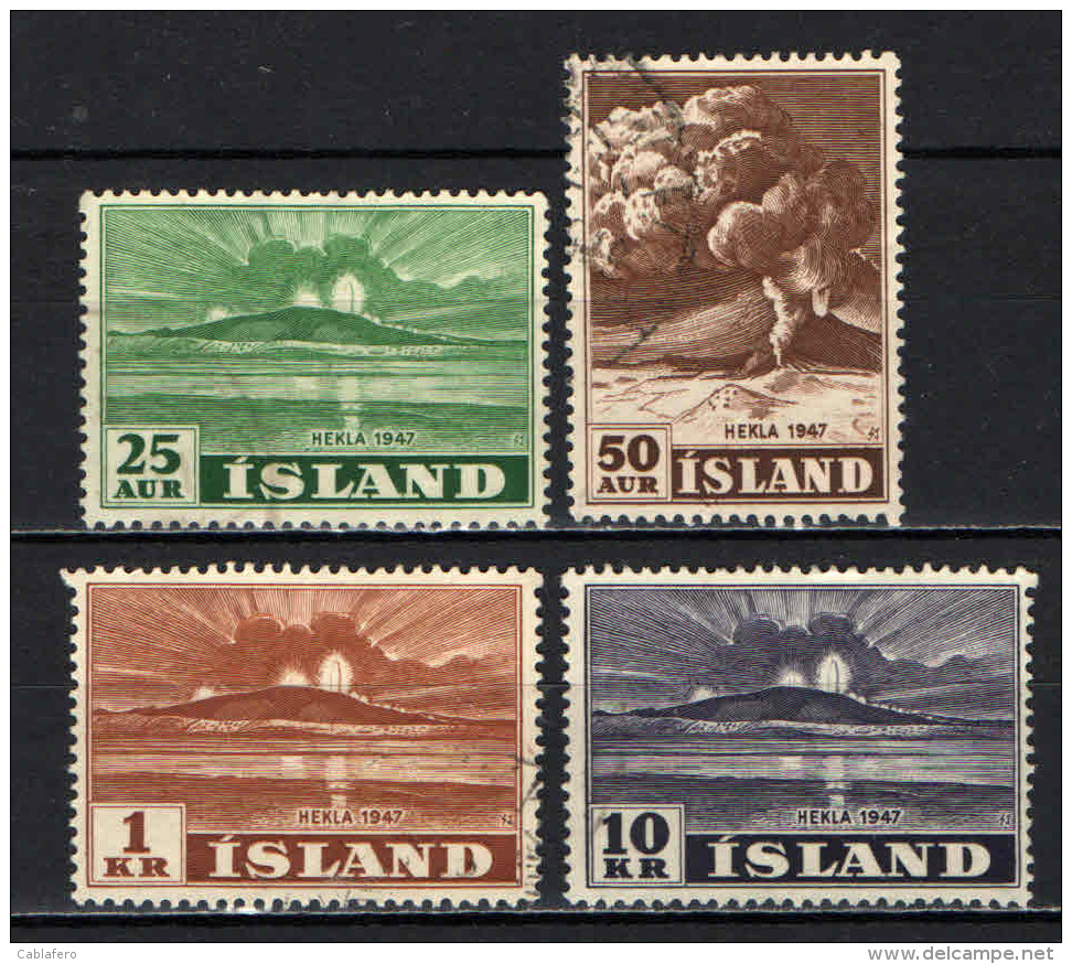 ISLANDA - 1948 - ERUZIONE DEL VULCANO HEKLA NEL 1947 - USATI - 1944-... Repubblica