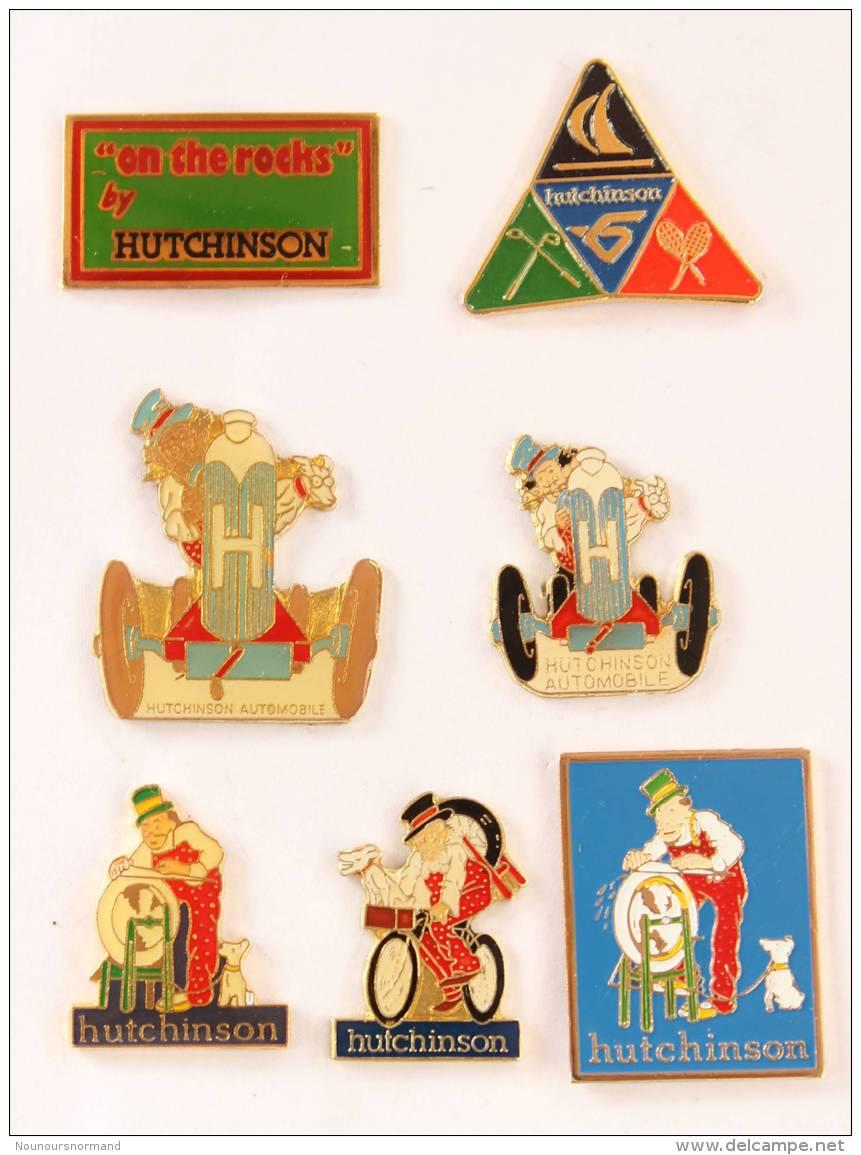 Lot De 7 Pin's  HUTCHINSON - Automobile - Vélo - Rémouleur - Chien - G932 - Badges