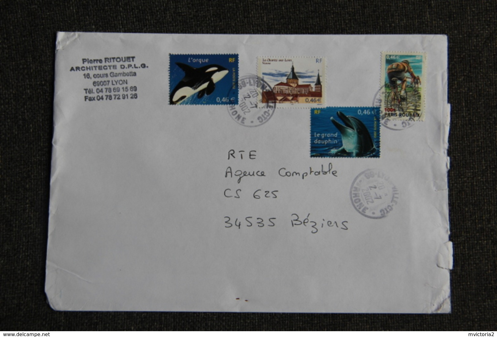 Enveloppe Envoyée Du LYON à Destination BEZIERS . - Marcophilie (Lettres)