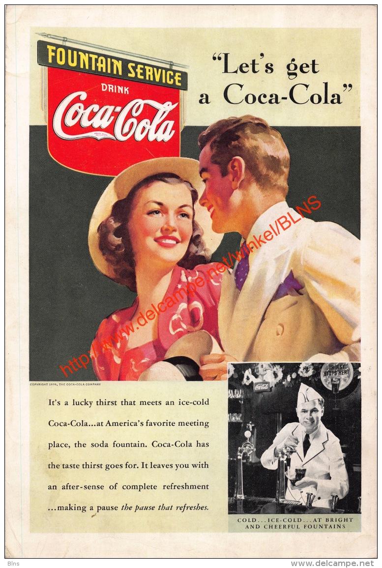 Coca-Cola 1939 Annonce-advert-advertentie - Papier Légère Cartonné 25 X 17 Cm - Affiches Publicitaires