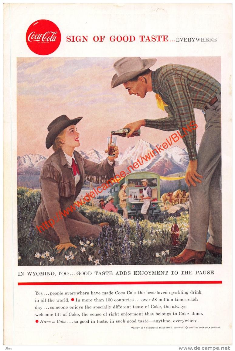 Coca-Cola 1958 Annonce-advert-advertentie - Papier Légère Cartonné 25 X 17 Cm - Affiches Publicitaires