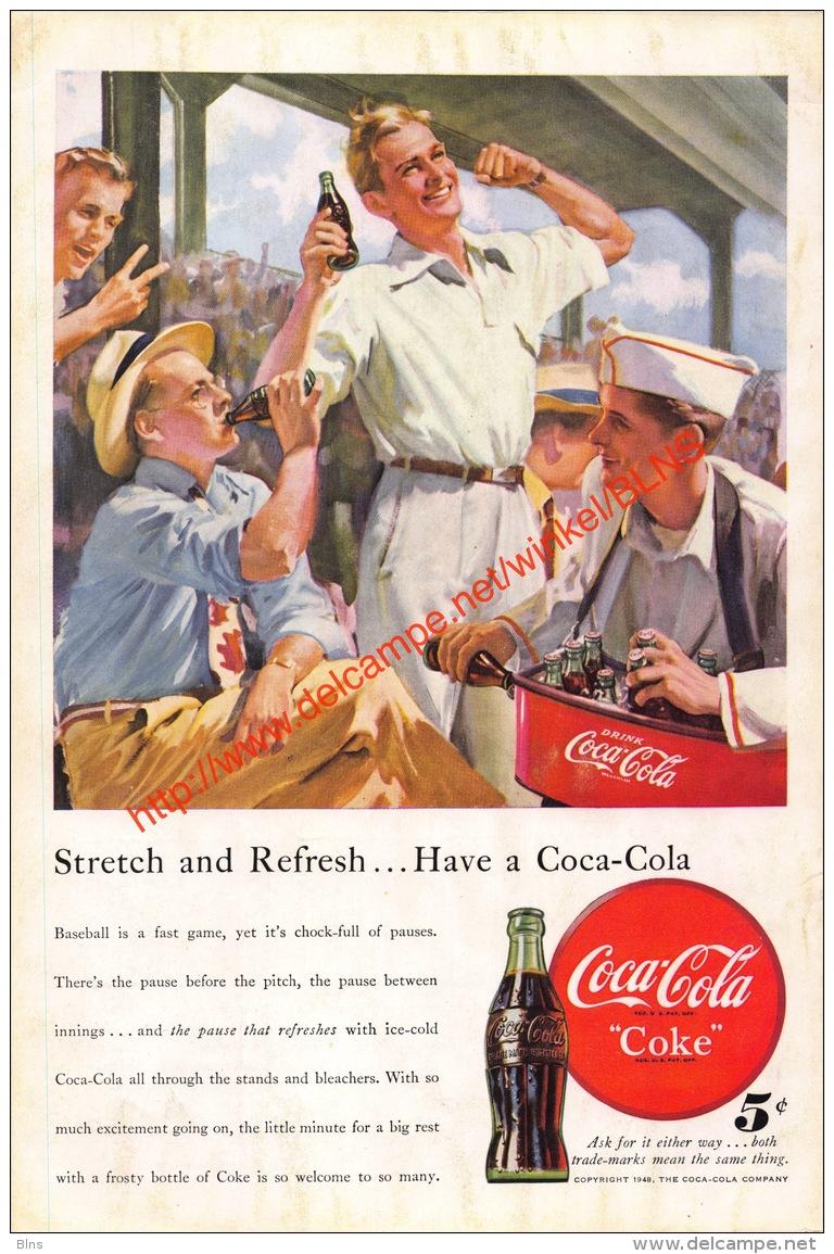Coca-Cola 1948 Annonce-advert-advertentie - Papier Légère Cartonné 25 X 17 Cm - Poster & Plakate