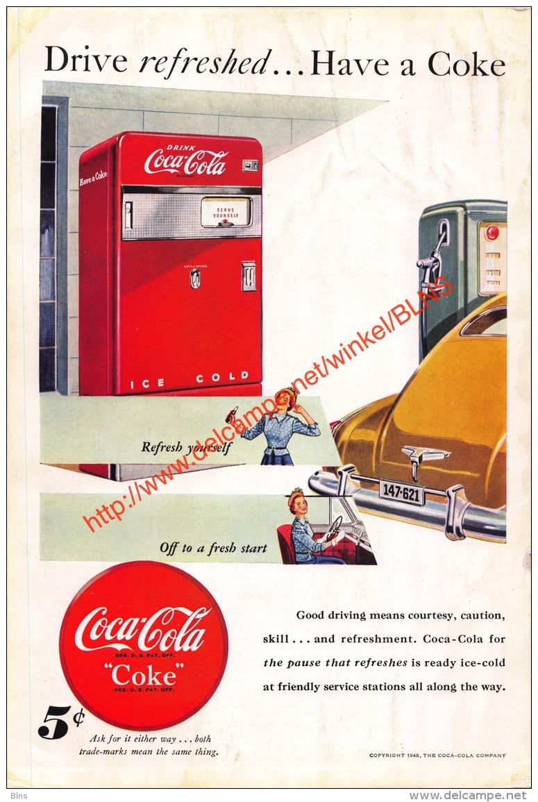 Coca-Cola 1948 Annonce-advert-advertentie - Papier Légère Cartonné 25 X 17 Cm - Affiches Publicitaires