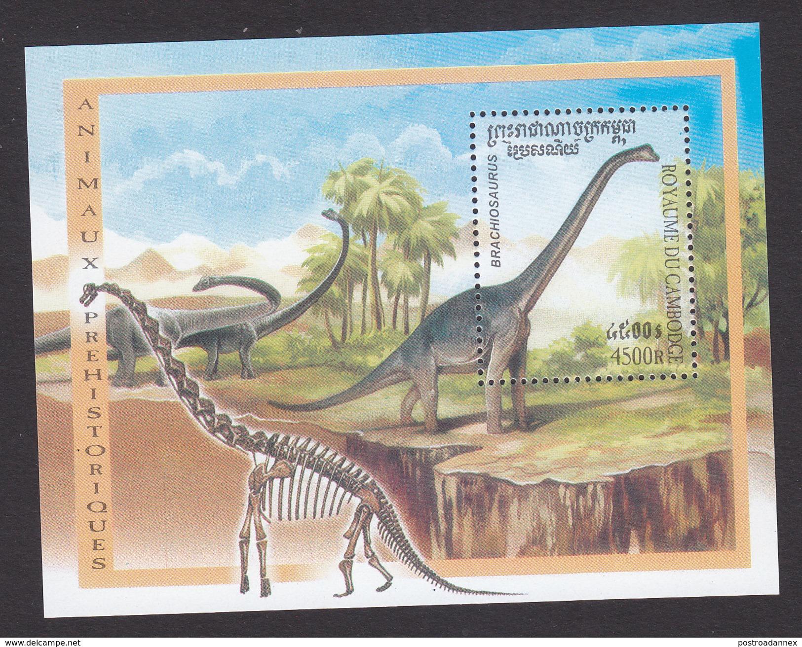 Cambodia, Scott #1930, Mint Hinged, Dinosaurs, Issued 2000 - Cambodja