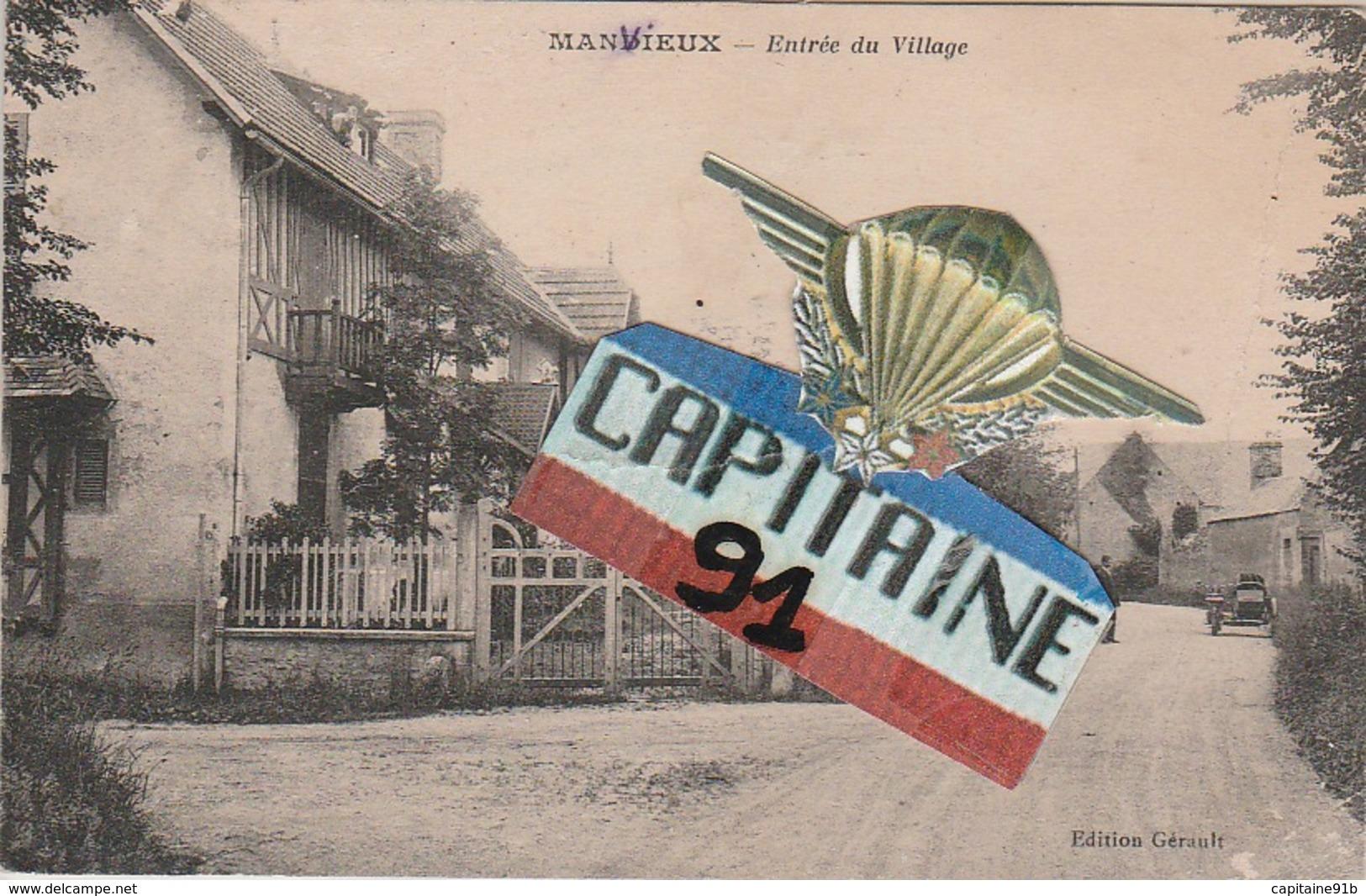 CPA MANVIEUX CALVADOS ENTREE DU VILLAGE - France