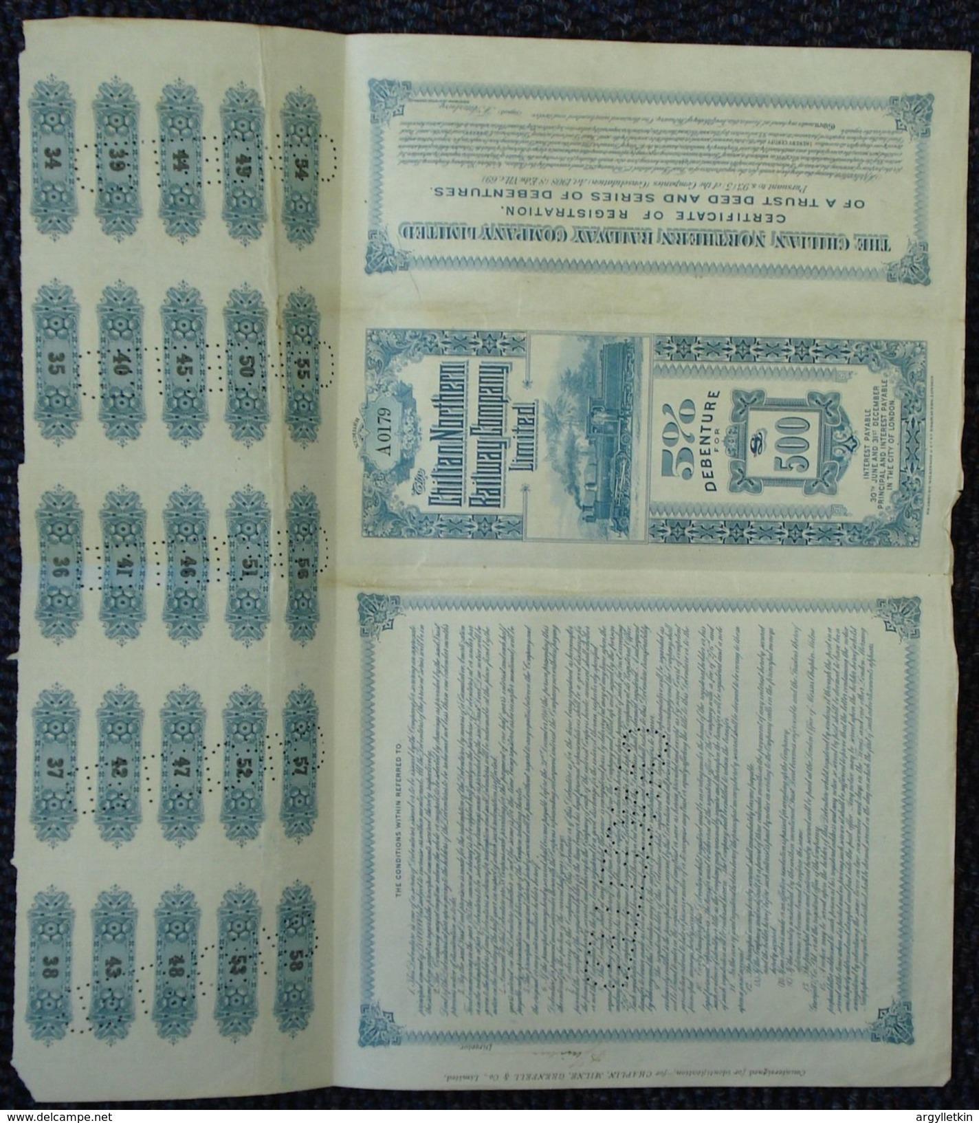 CHILE RAILWAY DEBENTURE SHARE CERTIFICATE STEAM RAILWAY TRAIN BRADBURY 1908 - Chile