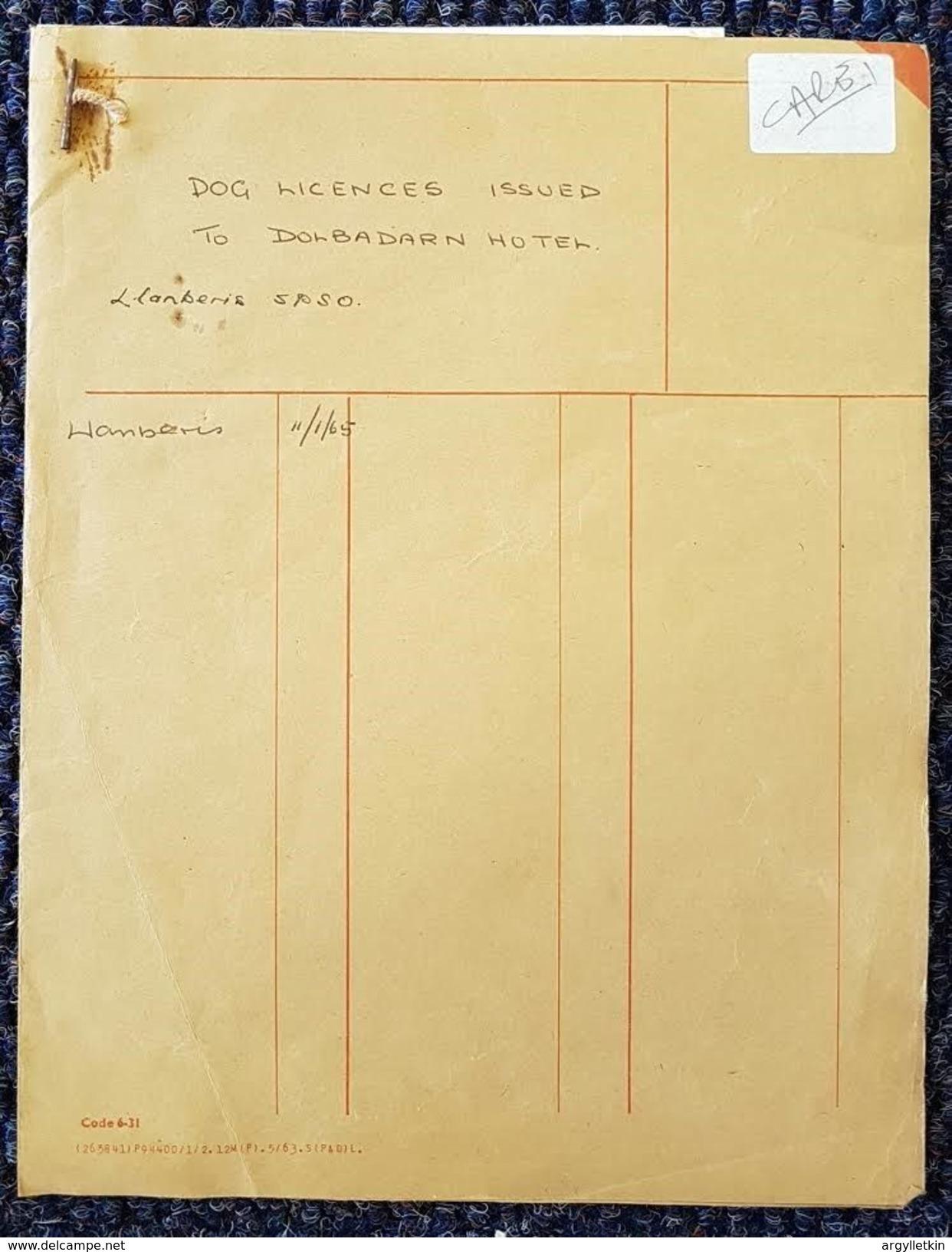 WALES CAERNAVON DOG LICENSE 1964 DOLBADARN HOTEL POLICE - Unclassified