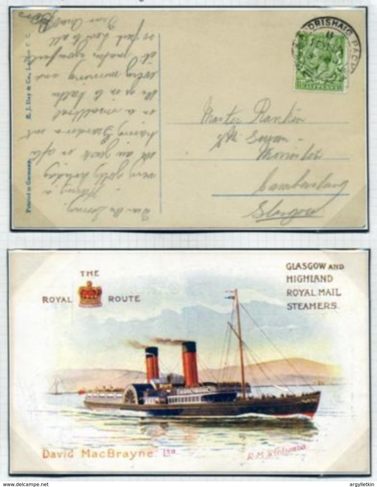 GB SCOTLAND GREENOCK & ARDRISHAIG PACKET KGV PC's #2 - Postmark Collection