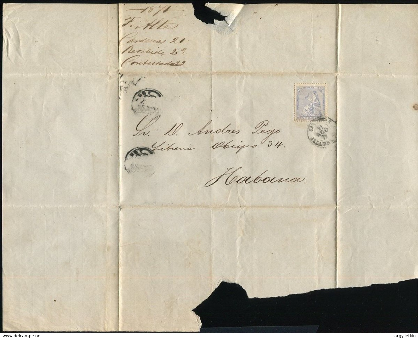 1871 CARDENAS ISLAND TO HAVANA SPANISH ANTILLES - Stamps