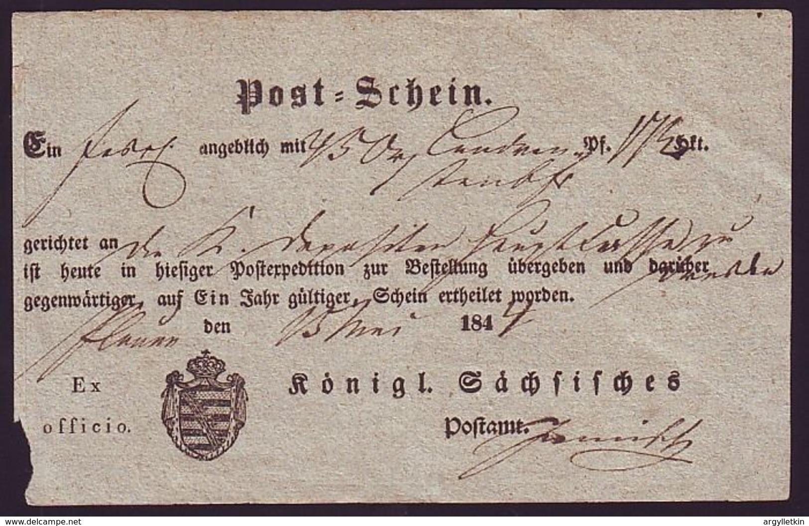 GERMANY SAXONY POSTAL RECEIPTS 1844 - Germany