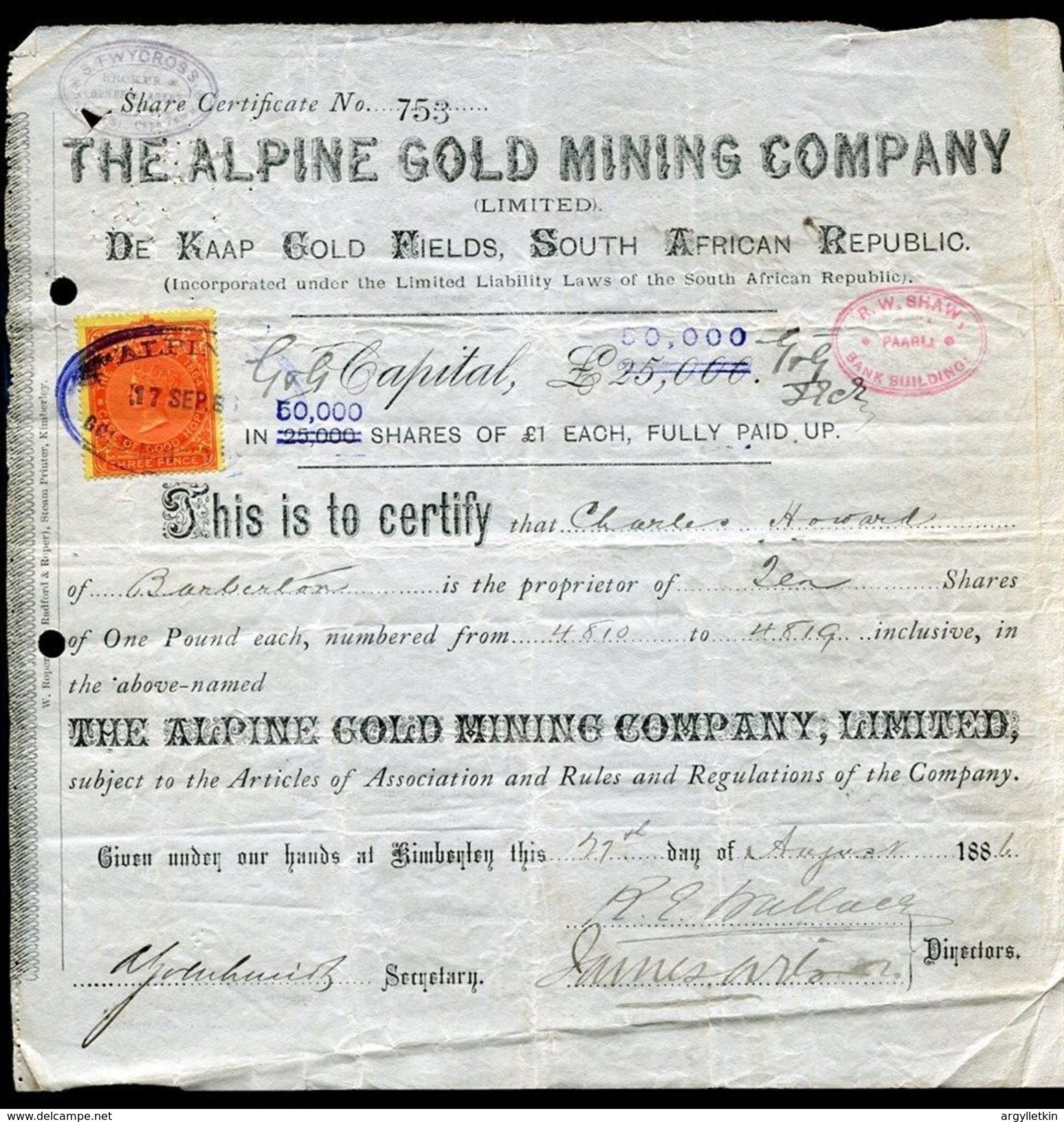 SOUTH AFRICA CAPE OF GOLD MINING SHARE CERTIFICATE 1886 - Unclassified