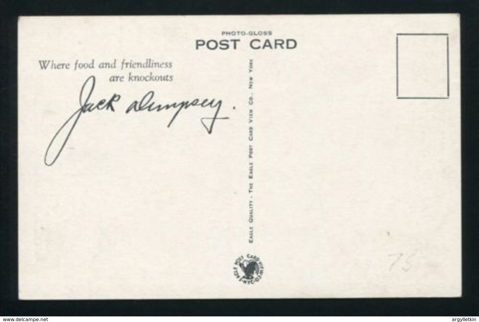 USA-JACK DEMPSEY AUTOGRAPHED POSTCARD - Other Collections