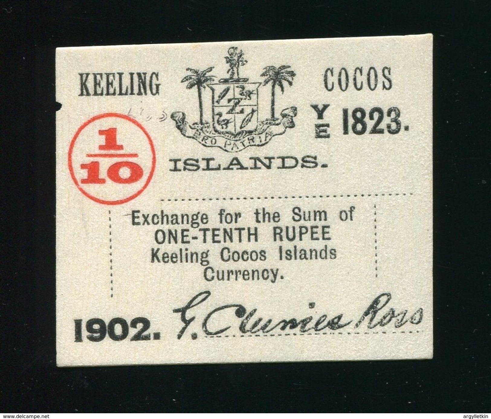 COCOS KEELING ISLANDS 1902 RUPEE CURRENCY NOTE CLUNIES ROSS - Coins & Banknotes