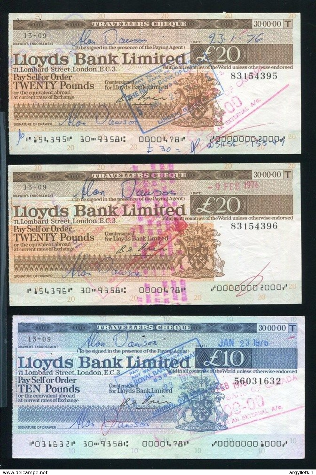 LLOYDS BANK TRAVELLERS CHEQUES BRITISH GUYANA 1976 FLOWERS - Old Paper