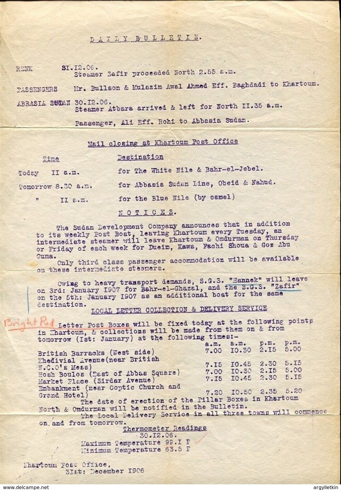 KHARTOUM POST OFFICE NOTICE 1906 - Stamps