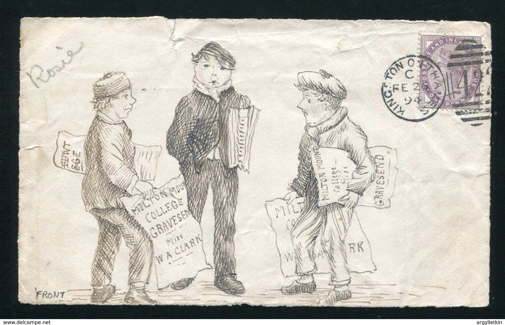 GB 1894 ILLUSTRATED FRONT NEWSPAPER BOYS KINGSTON ON THAMES VICTORIA - Postmark Collection