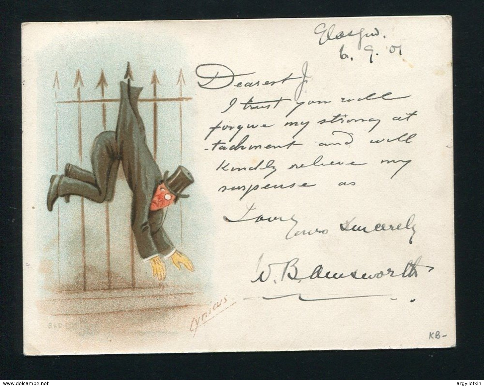 GB SCOTLAND GLASGOW VICTORIA EXHIBITION HUMOUR 1901 - Postmark Collection