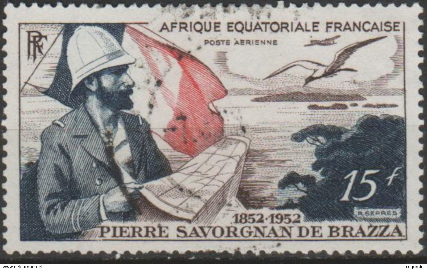 Africa Ecuatorial Francesa Aereo Usado U 55 (o) Foto Estandar. 1951 - Usados