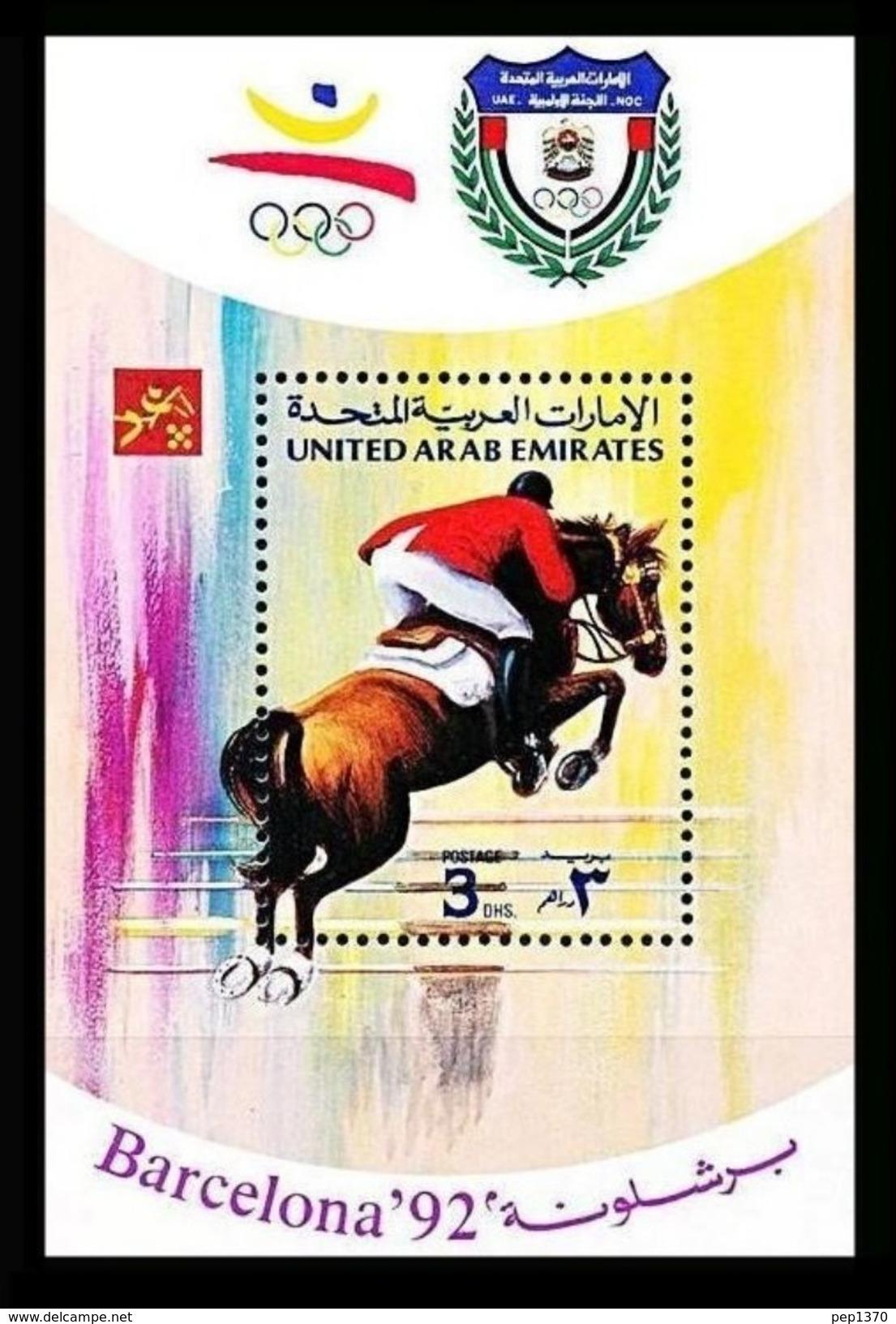 EMIRATOS ARABES UNIDOS 1992 - UNITED ARAB EMIRATES - OLYMPICS BARCELONA 92 - YVERT BF-12  MICHEL BLOCK 11  SCOTT SS 390A - Ver. Arab. Emirate