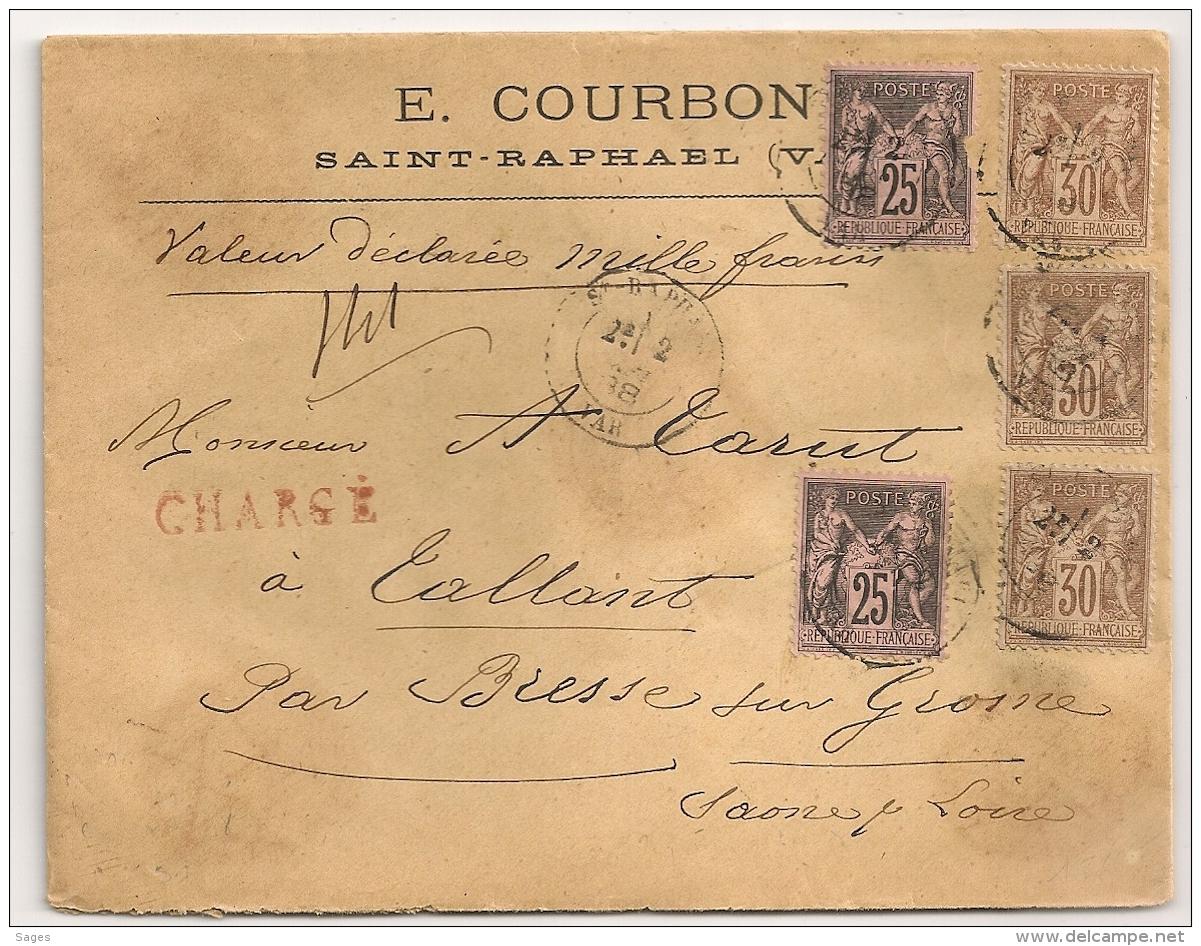 CHARGE, SAINT RAPHAEL Var Au Type SAGE. 30C SAGE CENTRAGES PARFAITS. - 1877-1920: Période Semi Moderne