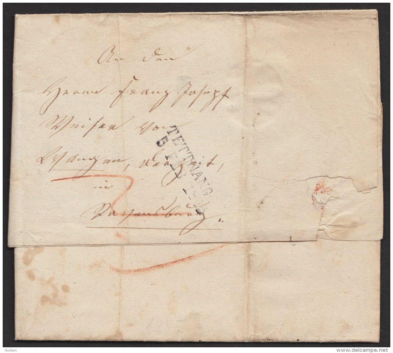 """Vorphila:"""" Tettnang"""", 5. Februar 1845 Auf Tax. Brief ,mit Inhalt, Brief - Wuerttemberg"""