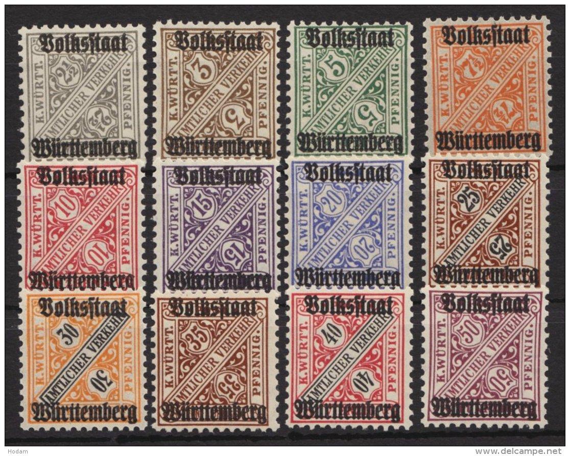 """Aufdruck """"Volksstaat"""", 12 Werte, Ohne 270, ** - Wuerttemberg"""