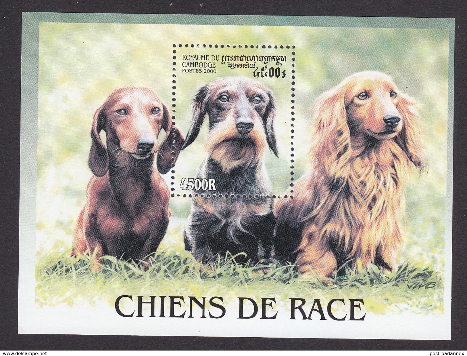 Cambodia, Scott #2023, Mint Hinged, Dogs, Issued 2000 - Cambodia